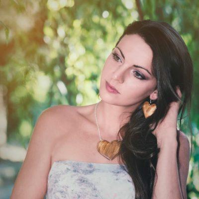 Drevené šperky náušnice, prívesok - Srdce natur prírodné