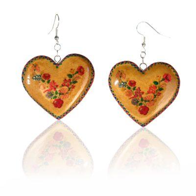Drevené náušnice – Srdce folklórny motív, morené orech