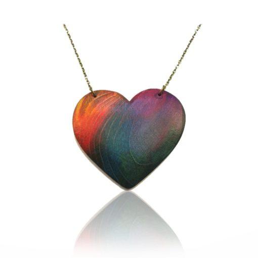 Drevený náhrdelník farebný