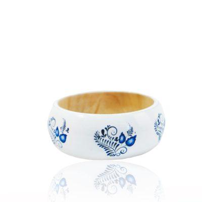 Drevený náramok vzor Bielo-modrý