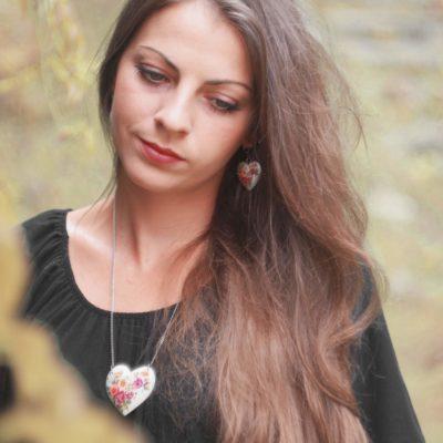 Náušnice Srdce Lúčne kytice