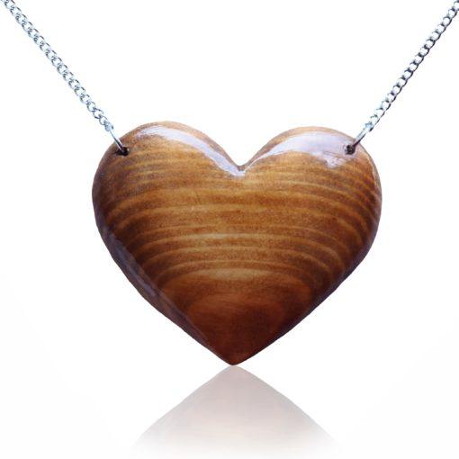 Drevený náhrdelník Srdce natur prírodné