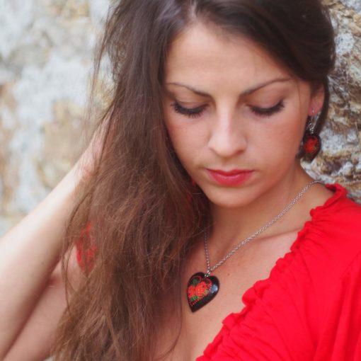 Náušnice, náhrdelník Srdce čierne Folk motív