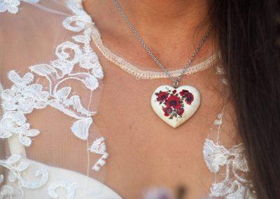 Náhrdelník srdce Divý mak biely