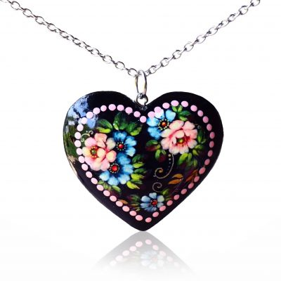 Drevený náhrdelník Srdce Letné kytice