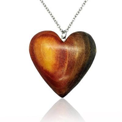 Drevený náhrdelník Srdce natur Hnedé dúhové