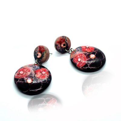 Drevené náušnice Kvety Dália čierne