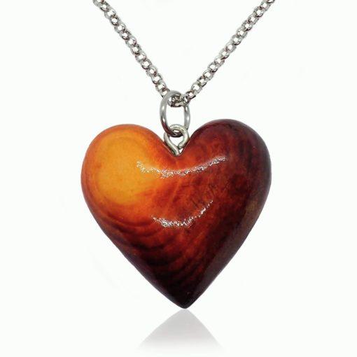 Drevený náhrdelník Srdce morené žlto hnedé
