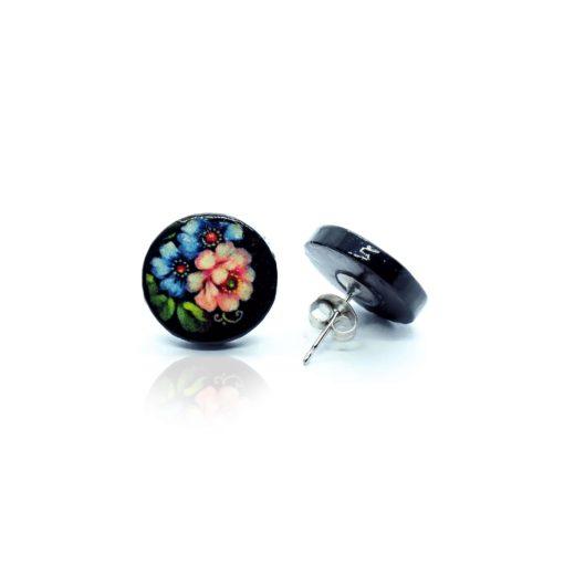 Náušnice čierne Letné kytice Puzetky