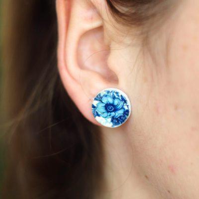 Náušnice slza modré kvety Puzetky
