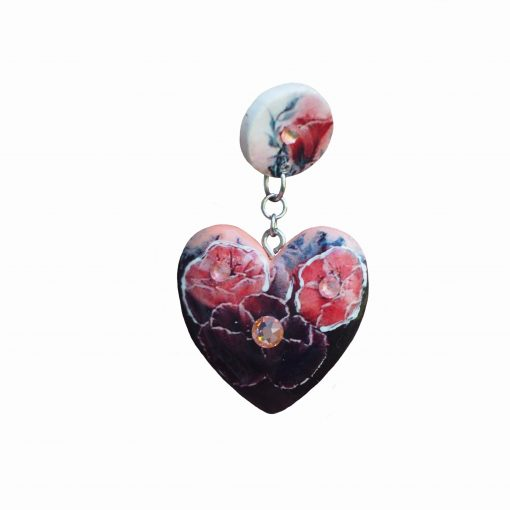 Drevené náušnice Kvety Dália Srdce