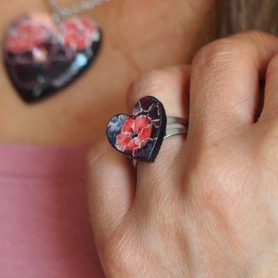 Drevený prsteň Kvety Dália Srdce
